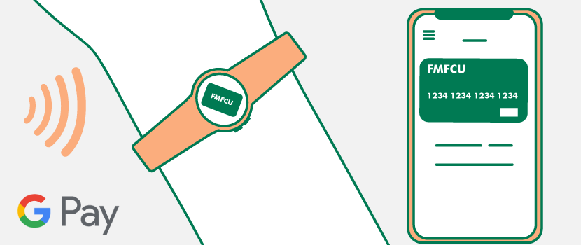 FMFCU Debit Card on a supported phone and smart watch