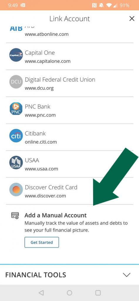 Adding Manual Accounts to Money$mart