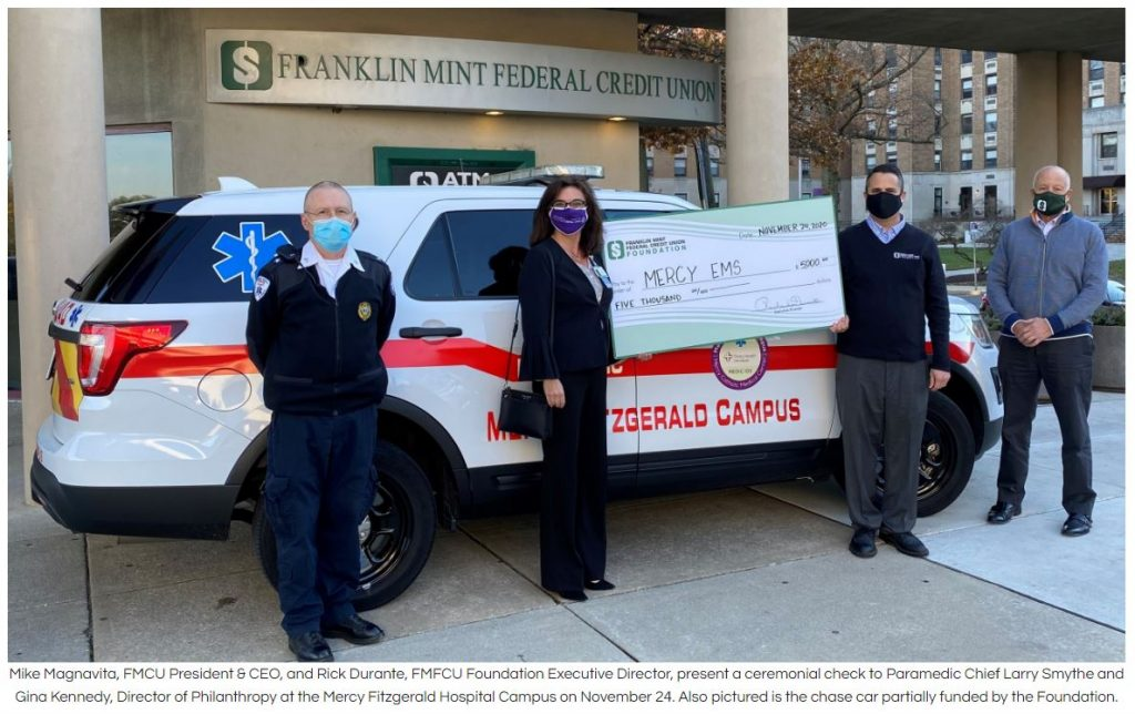FMFCU Foundation Mercy EMS Donation with Matching Funds